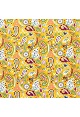 French Terry Sommersweat oker gelb Paisley