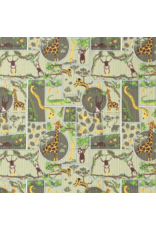 Jersey Motiv hellgrün light green Dschungel Giraffe Faultier Affe Krokodil Schlange Baumwolljersey