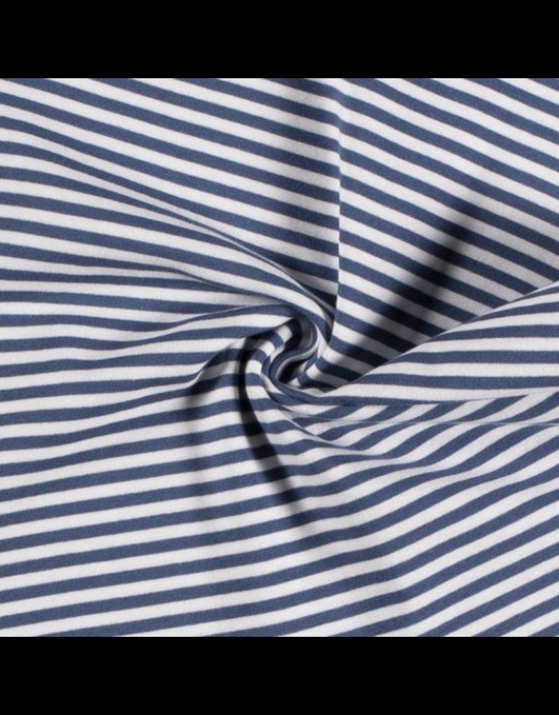 Bündchen indigo jeans weiß Streifen Strickschlauch
