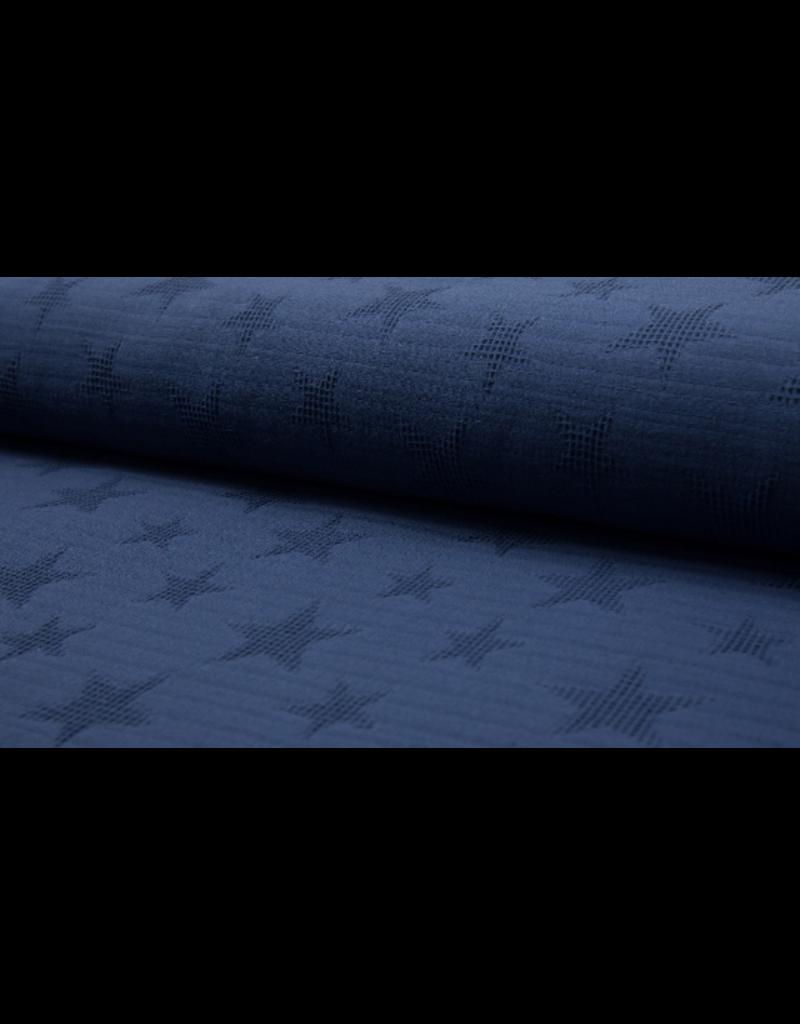 Jacquard Waffle dark jeans blau Baumwolle Sterne