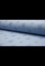 Jacquard Waffle hellblau blue Baumwolle Sterne