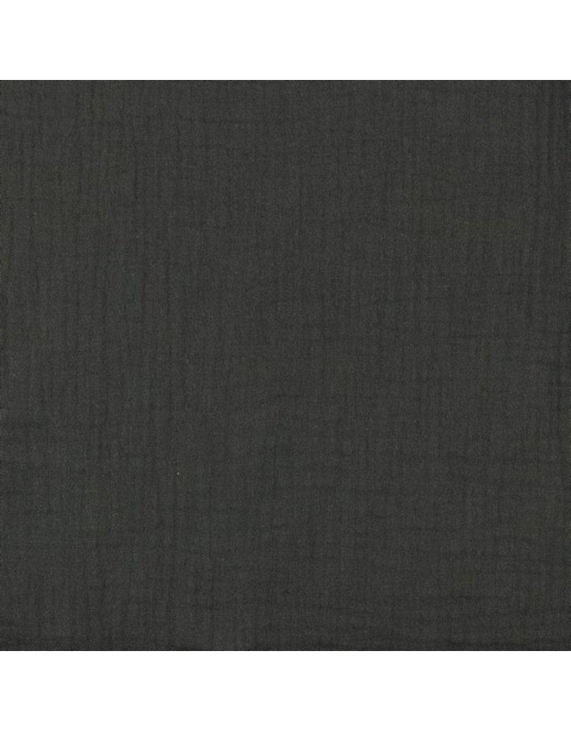 Musselin Uni dark grey Double Gauze