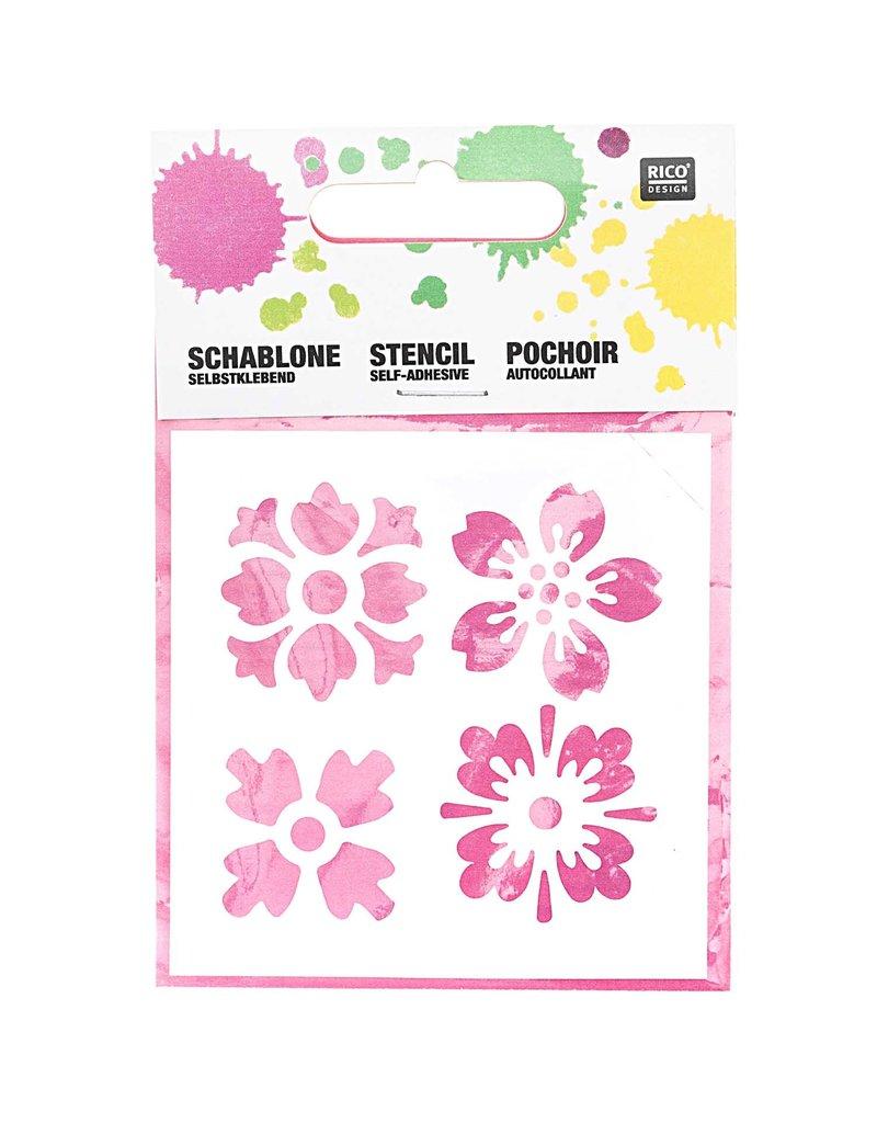 RICO Schablone klein Blumen 7,5cm x 7,5cm Nr. 961