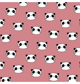Baumwolle Flanell Hi There Panda rose