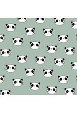 Baumwolle Flanell Hi There Panda mint