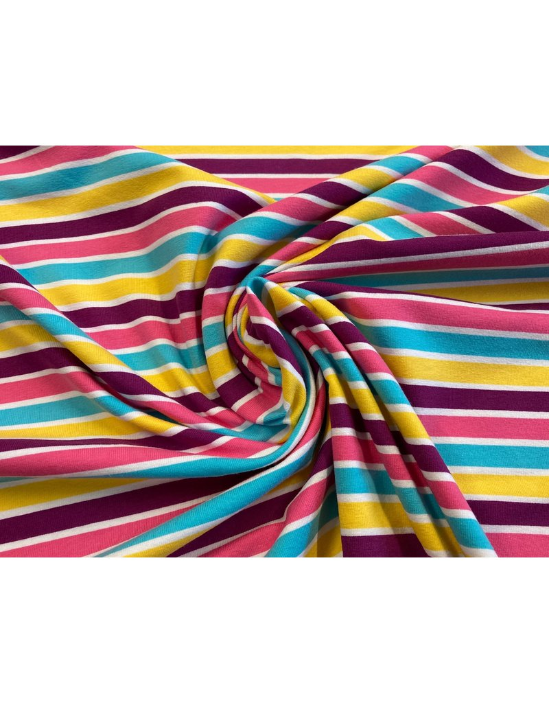 Jersey Motiv Streifen pink lila gelb blau 1cm