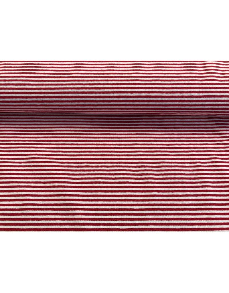 Jersey Motiv Streifen rot weiß 3 mm