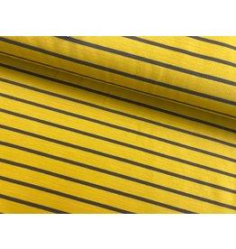 Sommersweat Motiv Streifen senf 2 cm taupe 5mm