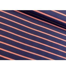 Sommersweat Motiv Streifen navy 2 cm coralle 5mm