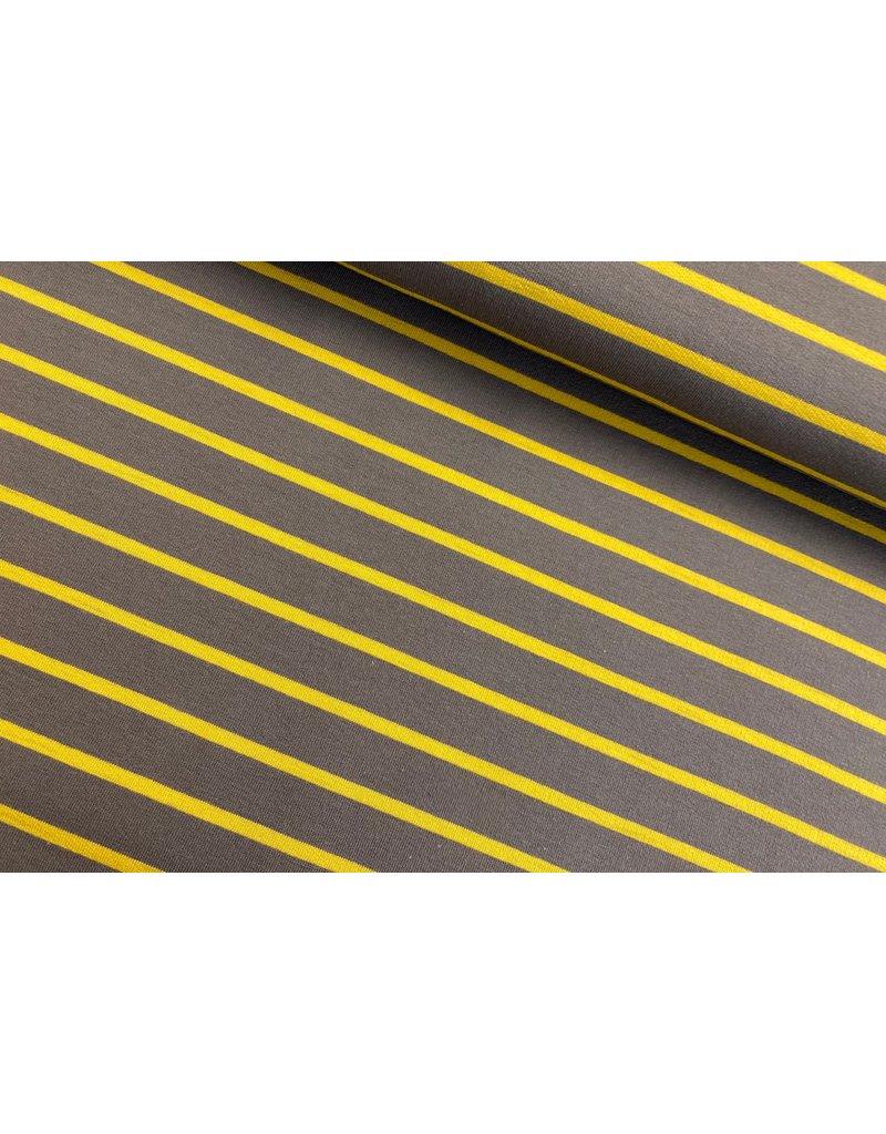 Sommersweat Motiv Streifen taupe 2 cm senf 5mm