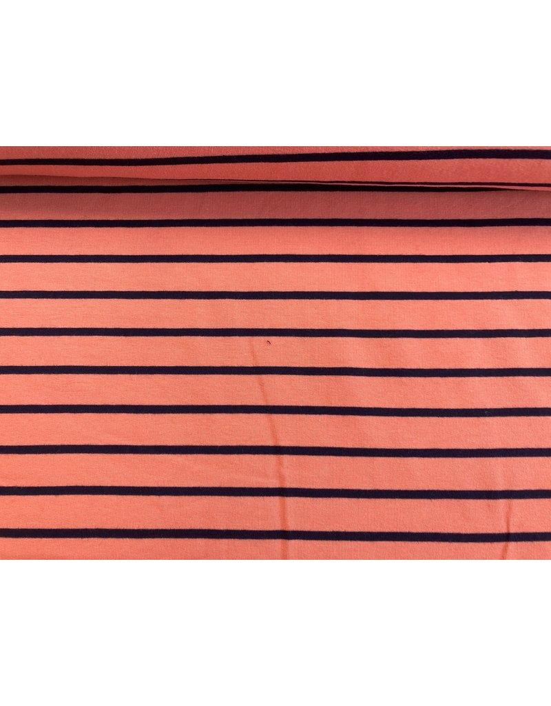 Sommersweat Motiv Streifen coralle 2 cm navy 5mm