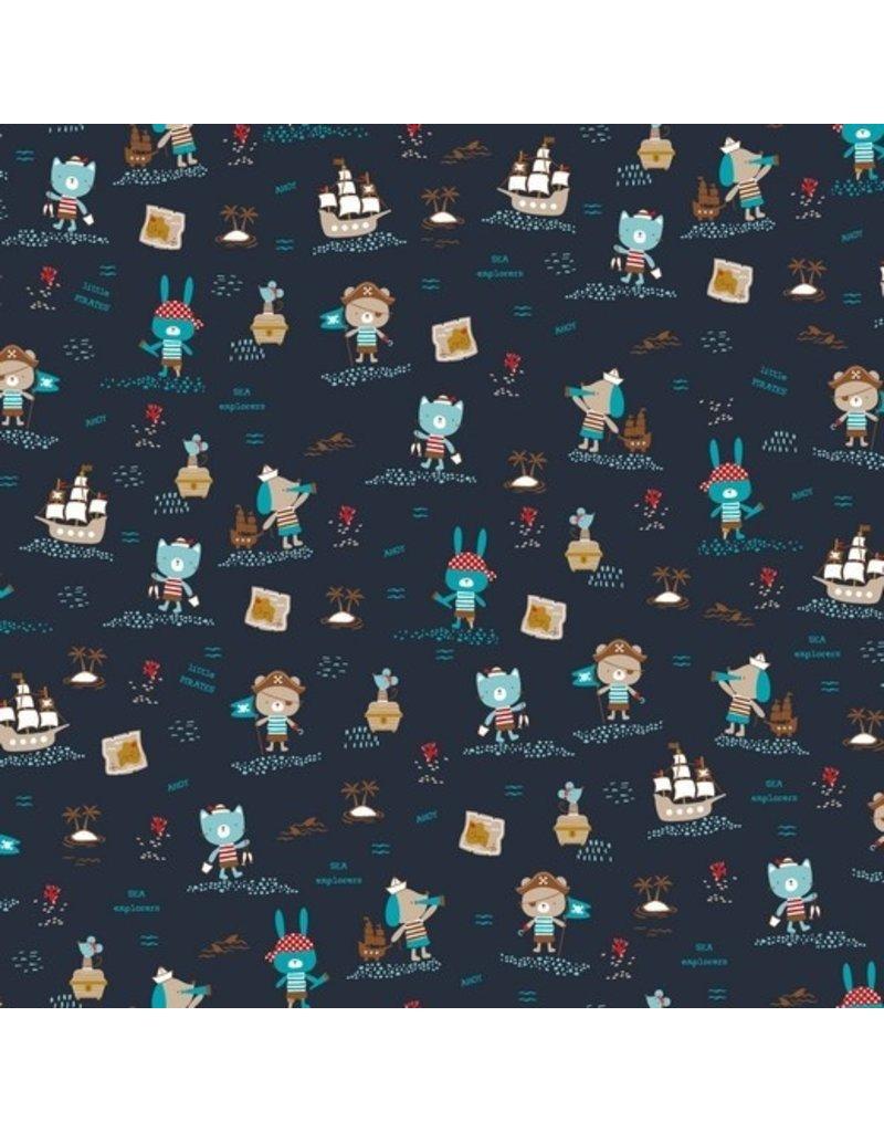 Baumwolle Motiv navy Piratentiere