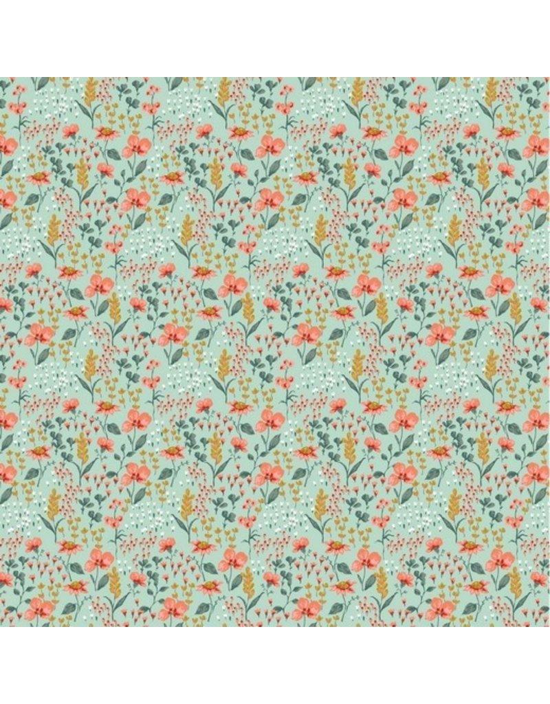 Baumwolle Motiv Blumenwiese mint