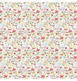 Baumwolle Motiv Blumenwiese ecru