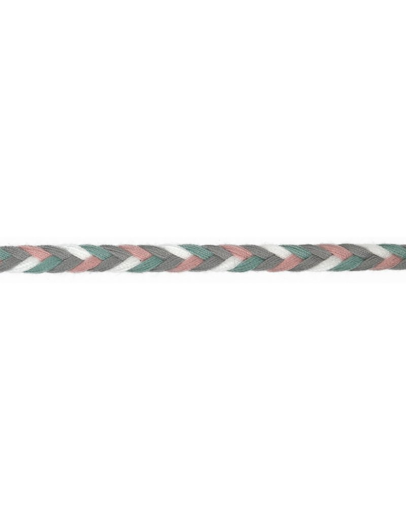 Kordel Multicolor mint grau rose weiß 8mm Col. 513