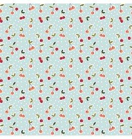 Baumwolle Cherry Kirschen hellblau