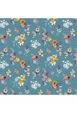 Baumwolle Flowery rauchblau Blumen bunt
