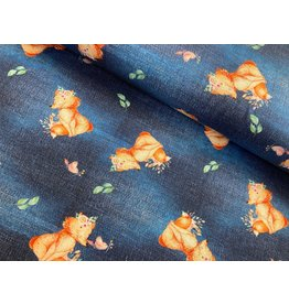 Jersey Motiv Fuchs Jeansoptik Digitaldruck