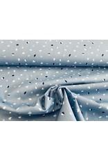 Baumwolle Motiv Blätter jeansblau