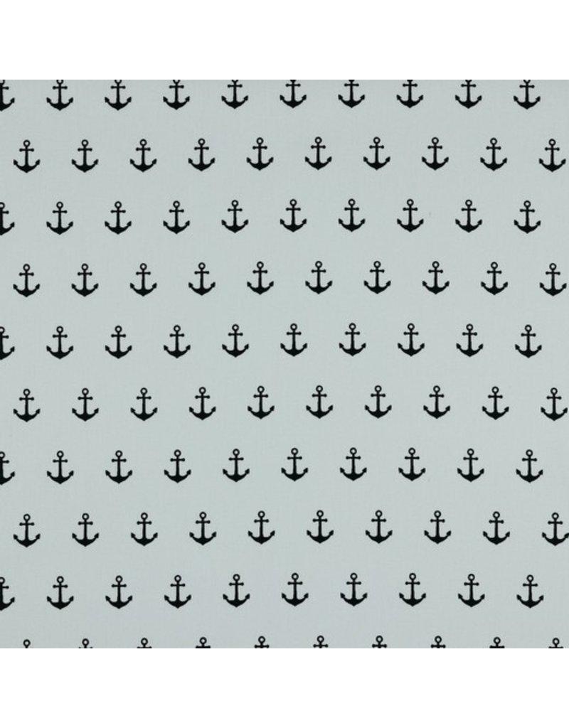 Baumwolle Motiv Anker weiß navy
