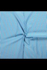 Baumwolle Motiv aqua Streifen weiß