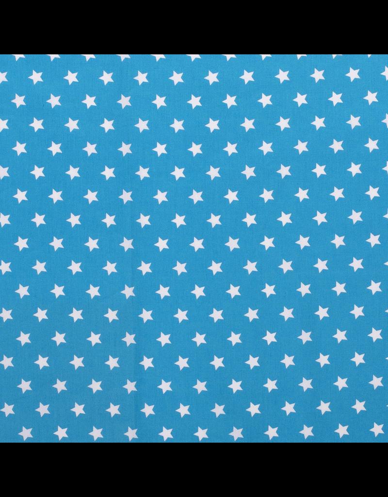 Baumwolle Motiv aqua Sterne weiß