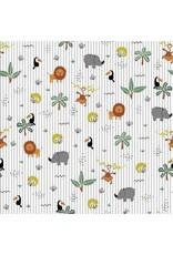 Baumwolle Motiv Dschungeltiere ecru Streifen grau