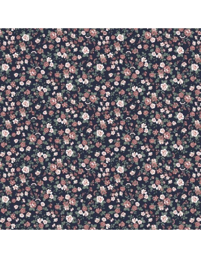 Baumwolle Motiv Blumen Romantic navy