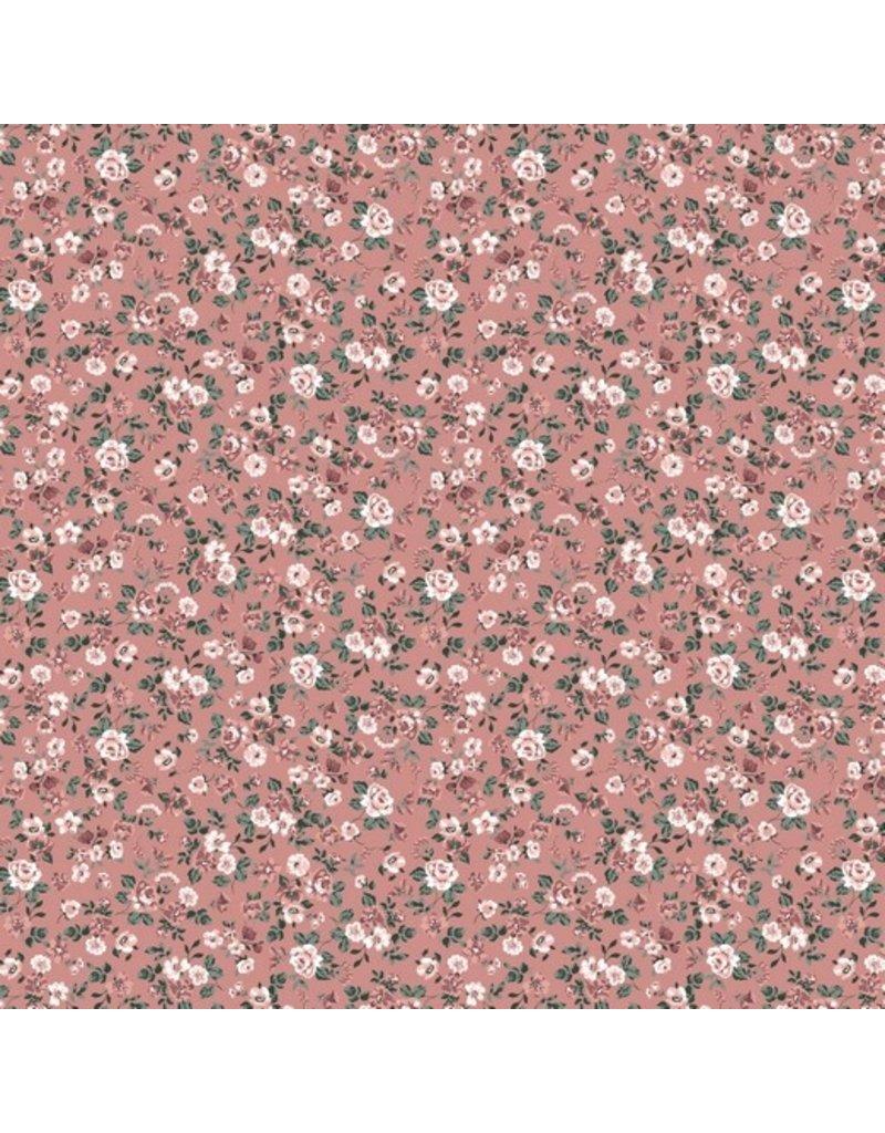 Baumwolle Motiv Blumen Romantic rosa