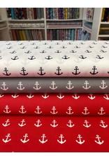 Baumwolle Motiv Anker navy weiß