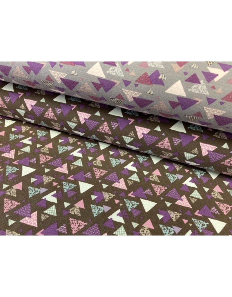 Sweat Motiv braun Dreiecke lila