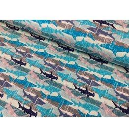 Sweat Sommersweat Haie blau türkis grau navy