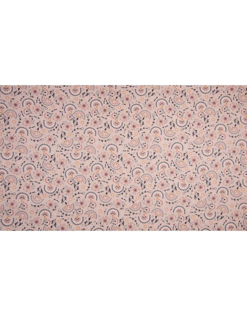 Baumwolle Motiv rose Blumen grau hellgrau senf