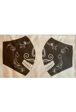 Maskenzuschnitt mexikanischer Totenkopf Vorderteil inkl. 50 cm Flachgummi