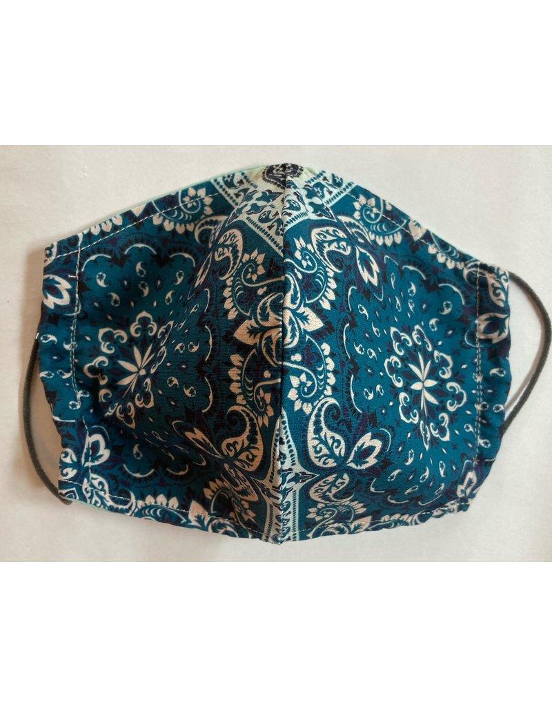 Maskenzuschnitt blaues Muster Vorderteil inkl. 50 cm Flachgummi