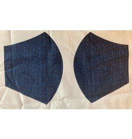 Maskenzuschnitt Jeansoptik Vorderteil inkl. 50 cm Flachgummi