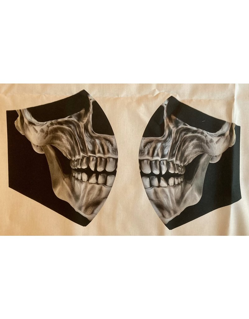 Maskenzuschnitt Totenkopf silber Vorderteil inkl. 50 cm Flachgummi