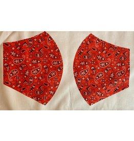 Maskenzuschnitt Paisley rot Vorderteil inkl. 50 cm Flachgummi