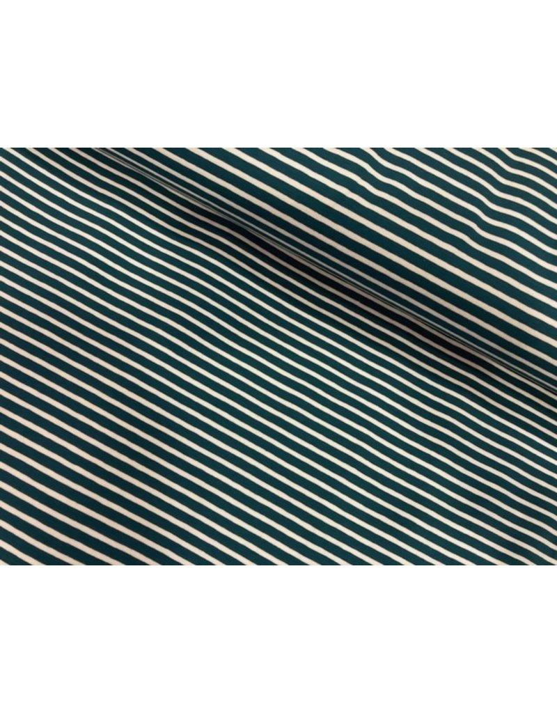 Jersey Motiv Streifen petrol 7mm weiß 3mm