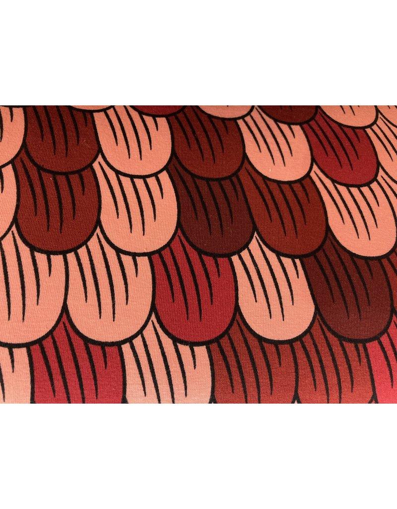 Jersey Motiv Blattfächer rot bordeaux rosa
