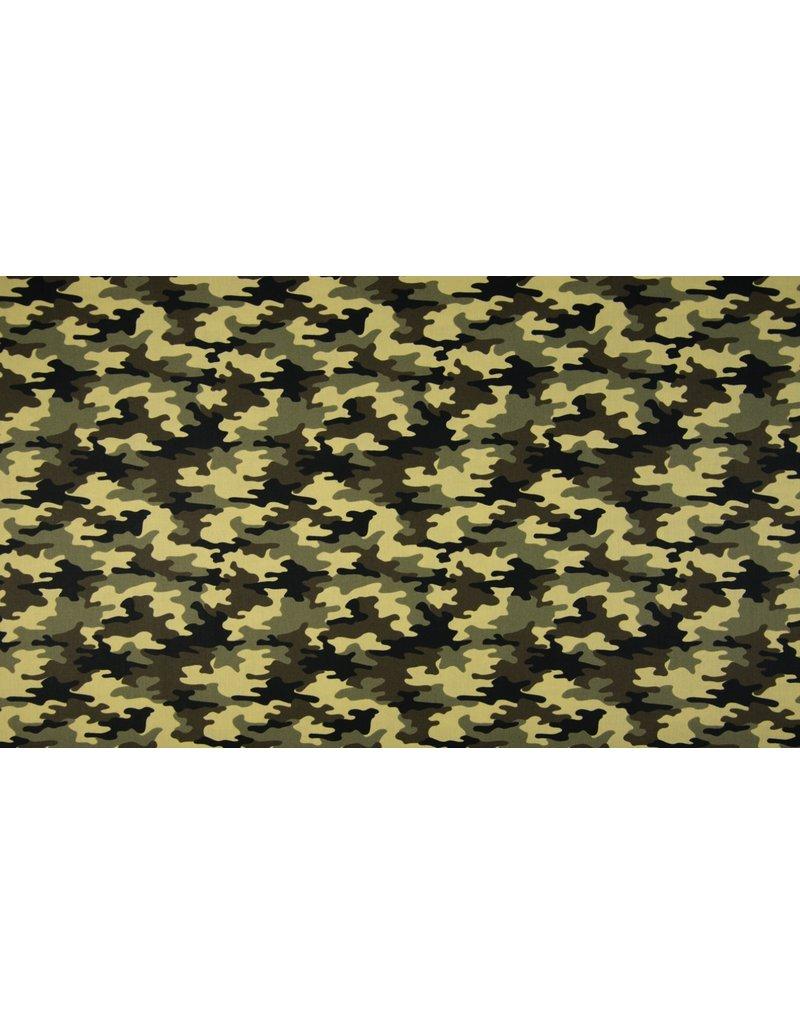 Baumwolle Motiv Camouflage Grüntöne