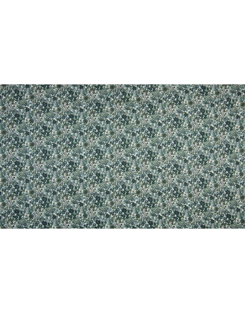 Baumwolle Motiv Digital Flower Print khaki dusty blue