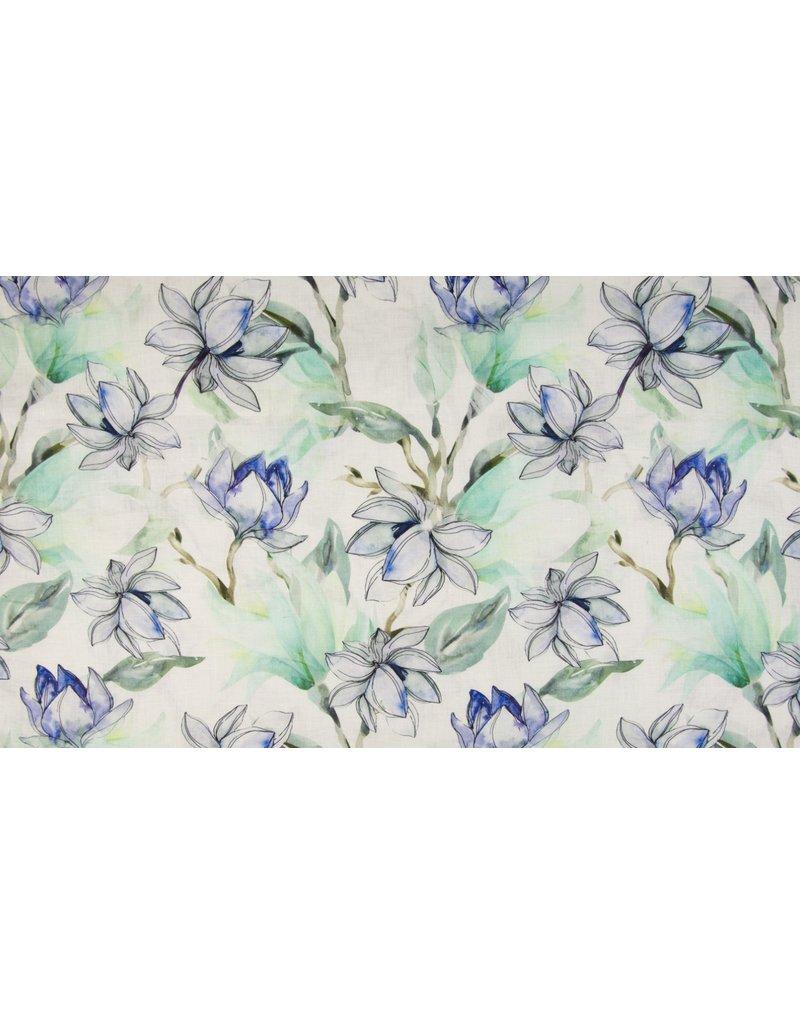 Leinen Motiv Flowers jeans green Blumen blau grün