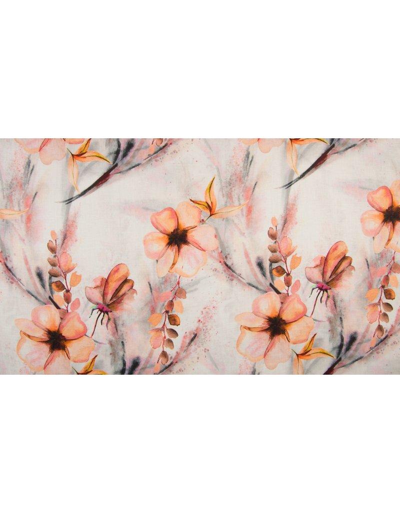 Leinen Motiv Flowers Blumen orange