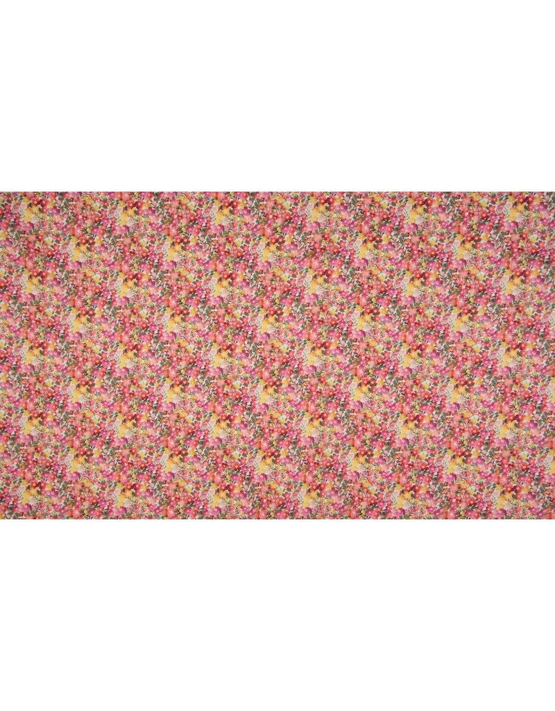 Baumwolle Motiv Digital Flower Print fuchsia gelb