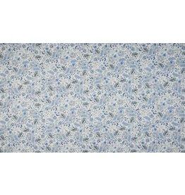 Baumwolle Motiv Digital Flowers royal blau