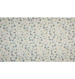Baumwolle Motiv Digital Flowers dusty mint light grey