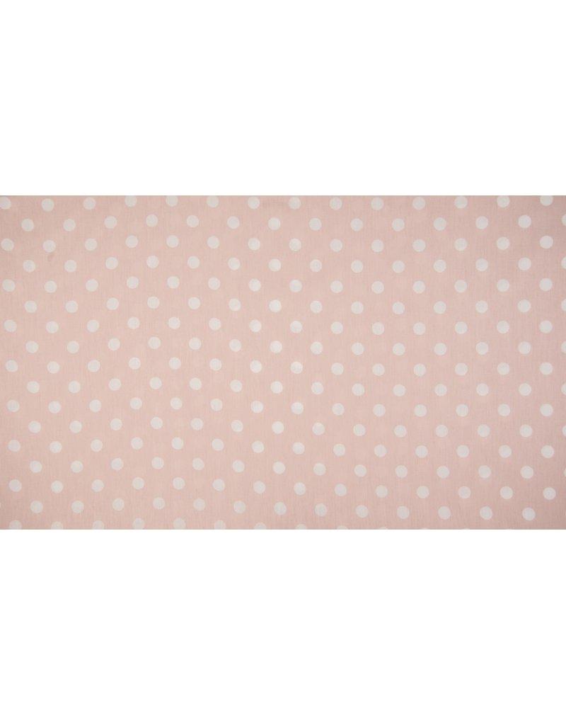 Baumwolle Motiv Punkte Dots 1cm dusty pink weiß