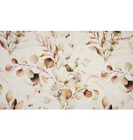 Sommersweat Motiv Organic French Terry Flowers brown