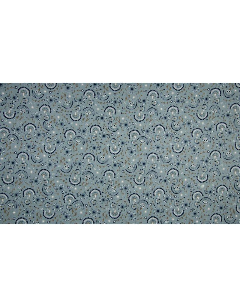 Baumwolle Motiv ecru Blumen dusty mint